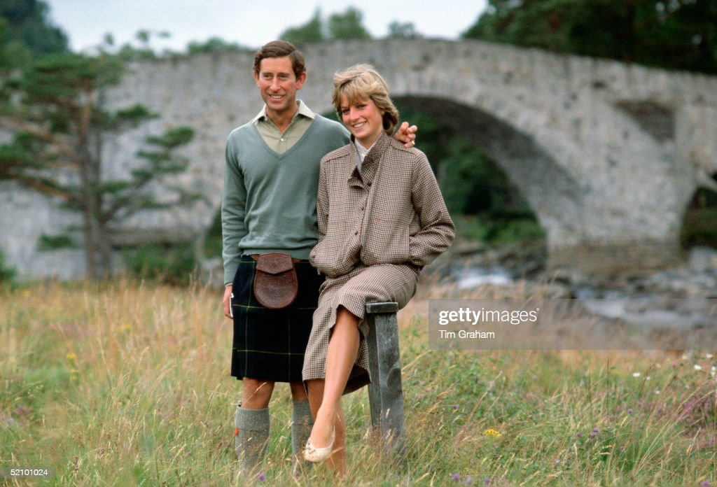 Prince Charles With His Arm Around His Wife, Princess Diana, During A Honeymoon Photocall By The River Dee. The Princess Is Wearing A Suit Designed By Bill Pashley With A Pair Of Shoes By The Chelsea Cobbler. The Prince Is Wearing A Kilt.