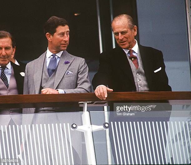 Prince Charles With His Father Prince Philip Enjoying A Day Horse Racing At The Derby