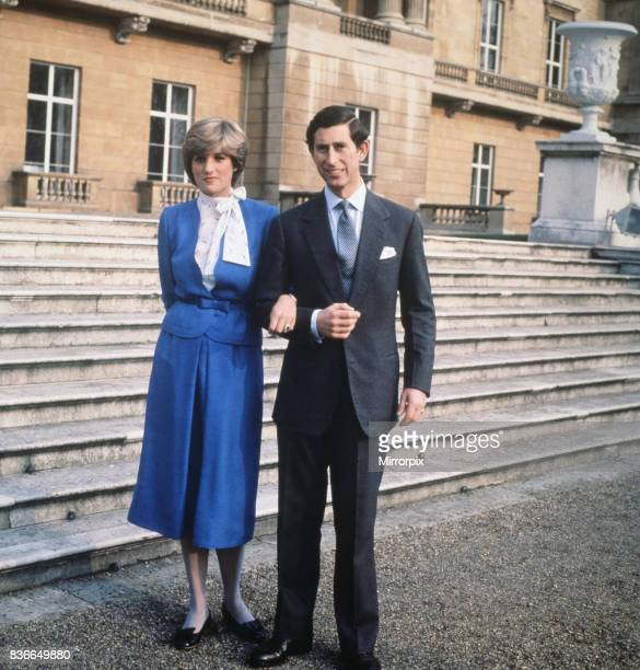 Prince Charles with his fiancee, Lady Diana Spencer, outside Buckingham Palace, after announcing their engagement, London, 24th February 1981.