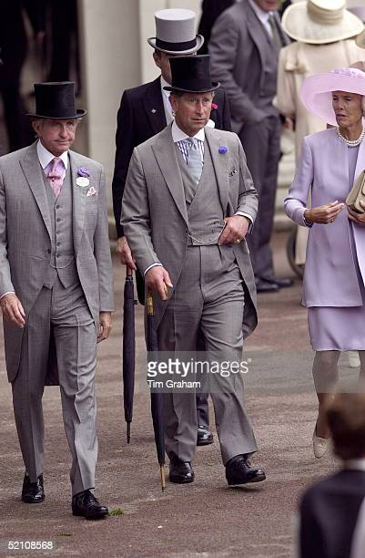 Prince Charles With His Friend Geoffrey Kent And His Wife At Royal Ascot For The First Day Of The Horse Race