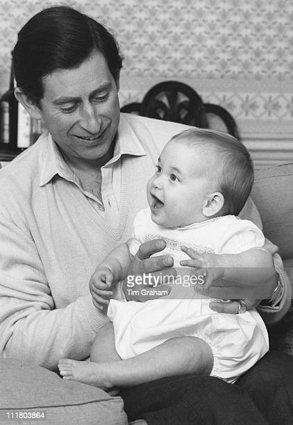 Prince Charles with his son Prince William at Kensington Palace in London 1st February 1983