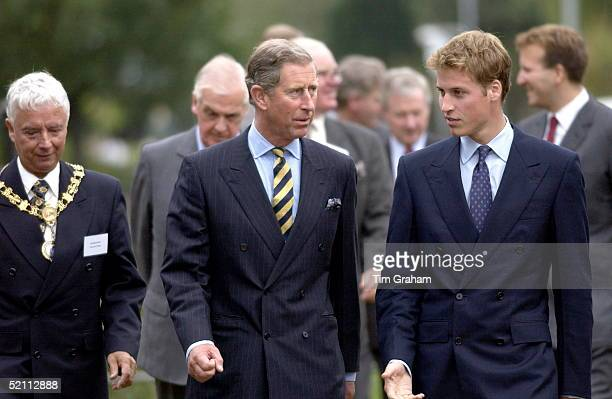 Prince Charles With His Son Prince William Visiting Anchor Mills In Paisley Glasgow Scotland