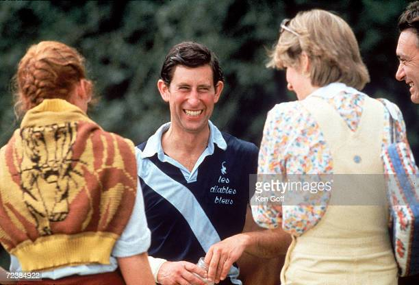 Prince Charles with Lady Diana Spencer and unidentified friend after a polo match at Cowdray Park; Sussex.