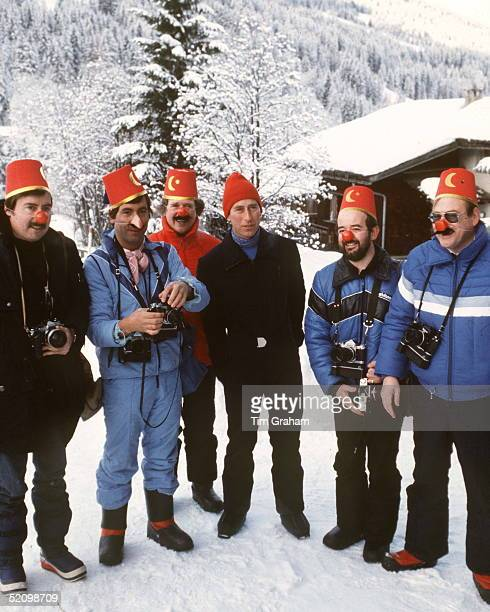 Prince Charles With Members Of The Press In Klosters Switzerland Who Are Returning His Joke By Wearing Joke Hats And Noses Left To Right Steve Wood...