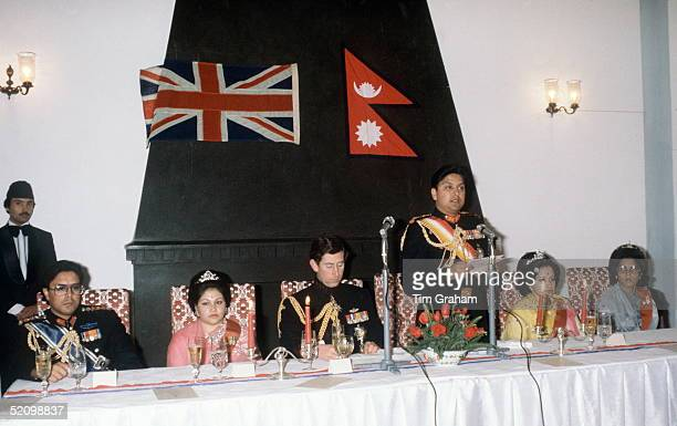 Prince Charles With Prince Gyanendra Making A Speech At A Banquet In The Kings Guest Palace Nepal L To R Prince Dhirendra Princess Komal Prince...