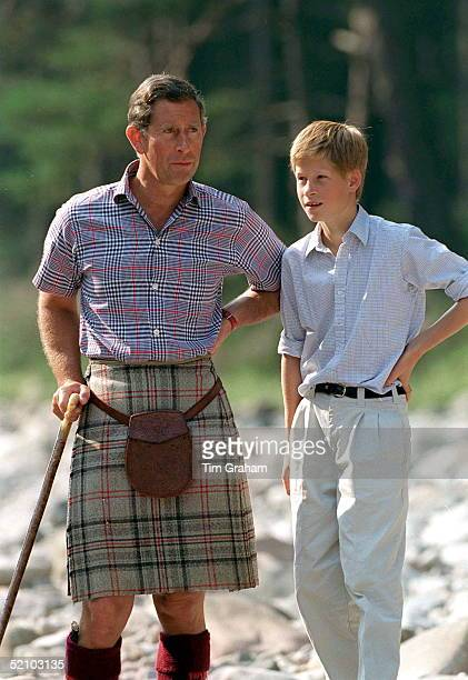 Prince Charles With Prince Harry At Polvier By The River Dee Balmoral Castle Estate