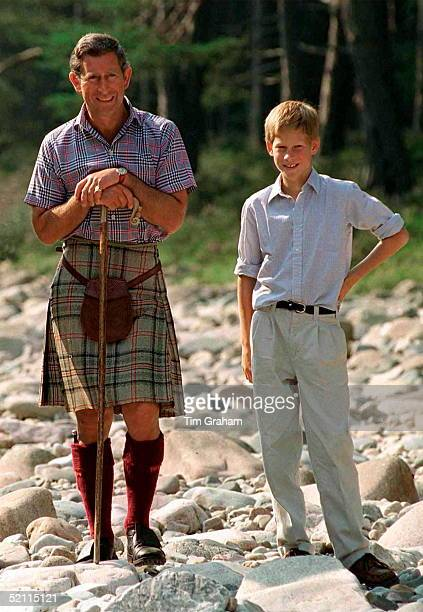 Prince Charles With Prince Harry At Polvier, By The River Dee, Balmoral Castle Estate