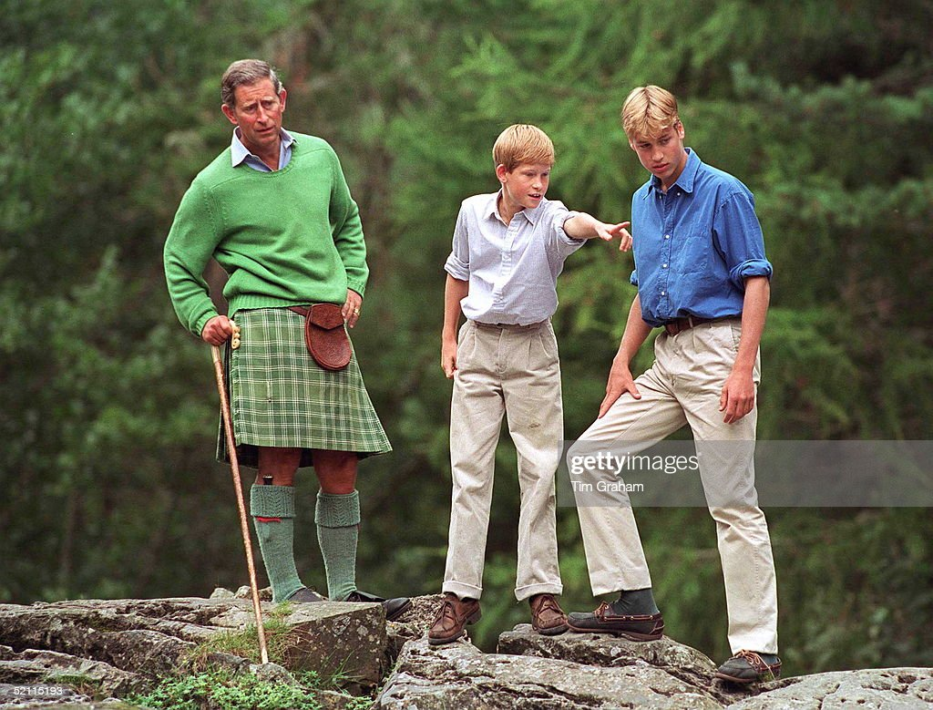 Prince Charles With Prince William And Prince Harry Visit Glen Muick On The Balmoral Castle Estate