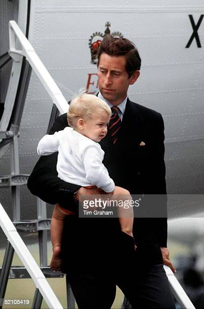 Prince Charles With Prince William At Aberdeen Airport