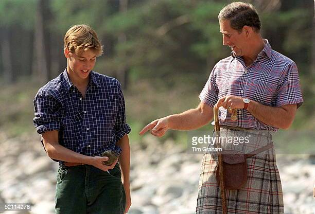 Prince Charles With Prince William In Opennecked Shirts At Polvier By The River Dee Balmoral Castle Estate