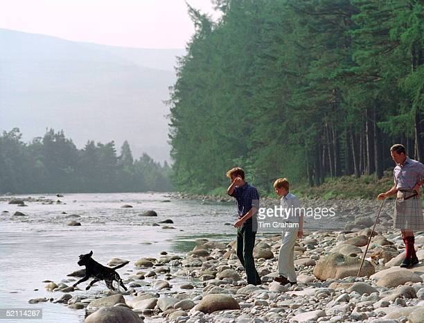 Prince Charles With Prince William Prince Harry At Polvier By The River Dee Balmoral Castle Estate William Is Throwing Stones For Widgeon His Black...