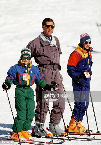 Prince Charles With Princes William And Harry In Klosters, Switzerland.