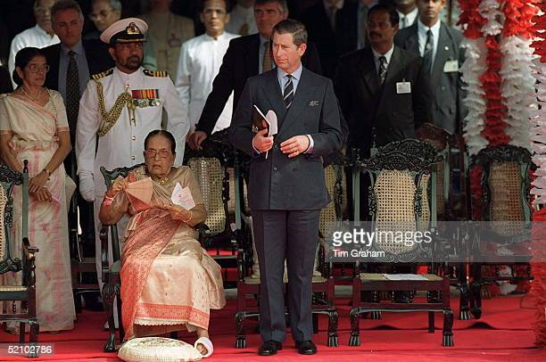 Prince Charles With Sarimavo Bandaranaike The World's First Woman Prime Minister And Leader Of The Sri Lanka Freedom Party During A Parade For The...