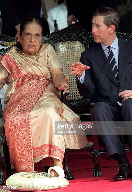 Prince Charles With Sirimavo Bandaranaike The World's First Woman Prime Minister And Leader Of The Sri Lanka Freedom Party During A Parade For The...