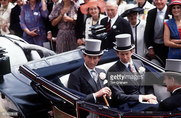 Prince Charles With The Duke Of Kent In A Carriage At Ascot Races.