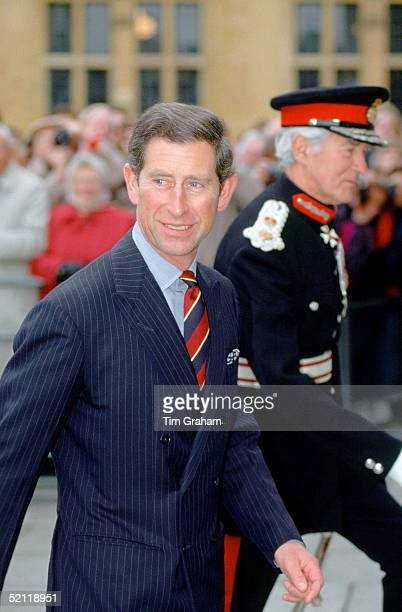 Prince Charles With The Lord Lieutenant Of Oxfordshire Visiting The Smithsonian Institute In Oxford