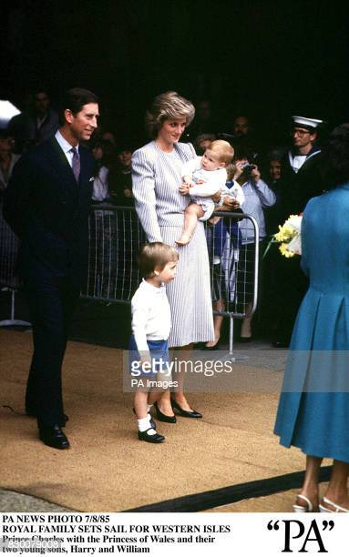 Prince Charles with the Princess of Wales and their two young sons Harry and William