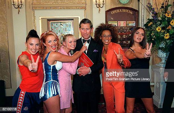 Prince Charles With The Spice Girls At The Manchester Opera House For A Royal Gala Performance To Celebrate The 21st Anniversary Of The Prince's...