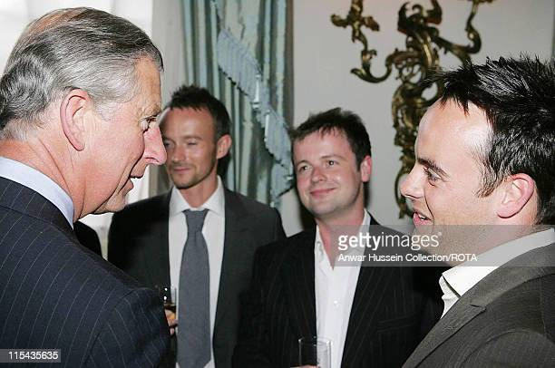 Prince CharlesPrince of Wales meets Ant McPartlin and Declan Donnelly at a reception at Clarence House for those lending their support to Saturday's...