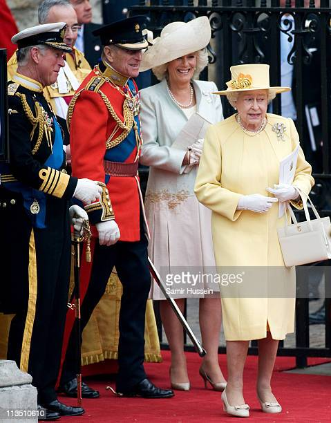 Prince CharlesPrince of Wales Prince Philip Duke of Edinbugh Camilla Duchess of Cornwall and Queen Elizabeth II depart the marriage of Their Royal...