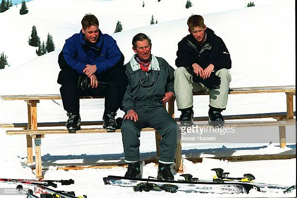 Prince Charles,the Prince of Wales, Prince William and Prince Harry pose for photographers during their skiing holiday in April, 2000 in Klosters,...