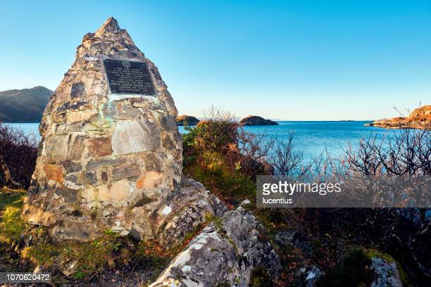 prince charlie's cairn, loch nan uamh, scotland - mallaig stock photos and pictures