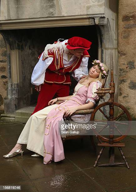 Prince Charming actually actor Andreas Richhardt discovers Sleeping Beauty played by actress Elisabeth Knoche in her 100year sleep at Sababurg Palace...