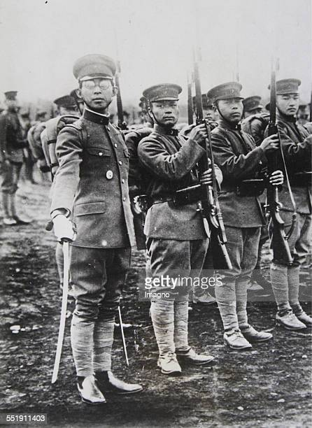 Prince Chichibu brother of Emperor Hirohito with sword in front of his regiment About 1936 Photograph