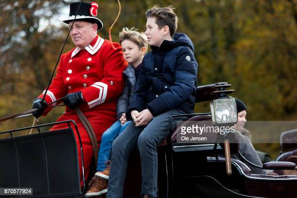 Prince Christian and Prince Vincent was allowed at the front seat when Crown Princess Mary and children arrived to the yearly Hubertus Hunt at The...