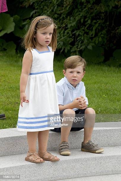 Prince Christian And Princess Isabella Attend A Photocall For The Danish Royal Family At Grasten Castle In Southern Denmark