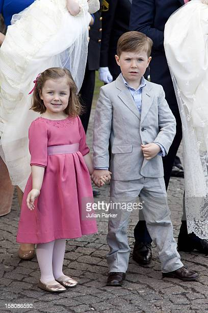 Prince Christian And Princess Isabella Attend The Christening Of The Danish Royal Twins At Holmens Church CopenhagenThe Twins Were Christened Prince...