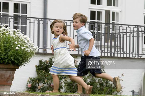 Prince Christian And Princess Isabella Of Denmark Attend A Photocall For The Danish Royal Family At Grasten Castle In Southern Denmark