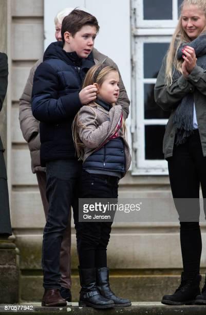 Prince Christian and Princess Isabella seen at the yearly Hubertus Hunt at The Woodland Park 'Dyrehaven' on November 5 2017 in Klampenborg Denmark...