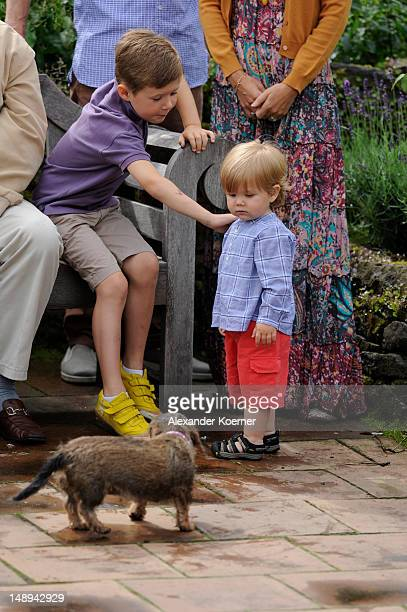 Prince Christian of Denmark and Prince Vincent Frederik Minik Alexander of Denmark pose during a photocall for the Royal Danish family at their...
