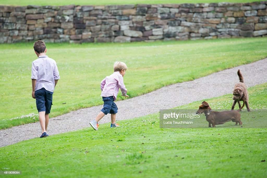 Prince Christian of Denmark and Prince Vincent of Denmark attend the annual summer Photocall for The Danish Royal Family at Grasten Castle on July 25, 2015 in Grasten, Denmark.