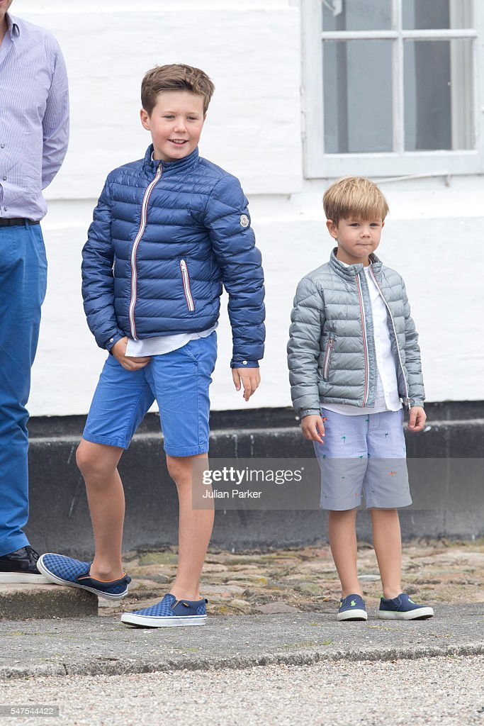 Prince Christian of Denmark, and Prince Vincent of Denmark, attend the annual summer photo call for The Danish Royal Family at Grasten Castle, on July 15, 2016 in Grasten, Denmark.