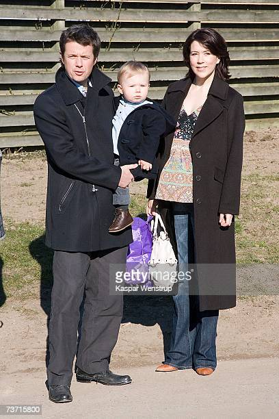 Prince Christian of Denmark arrives with his parents Prince Frederik and Princess Mary for his first day at the nursery school of Queen Louise's...