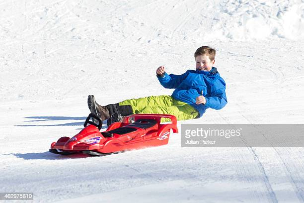 Prince Christian of Denmark attend a Photocall during his annual Ski holiday, on February 8, 2015 in Verbier, Switzerland.