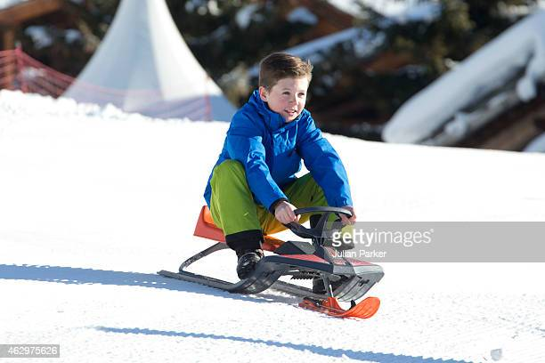Prince Christian of Denmark attends a Photocall during his annual Ski holiday on February 8 2015 in Verbier Switzerland