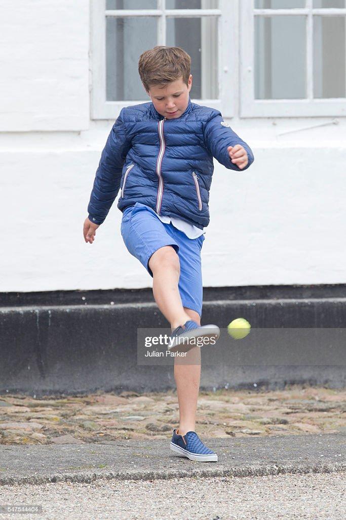 Prince Christian of Denmark, attends the annual summer photo call for The Danish Royal Family at Grasten Castle, on July 15, 2016 in Grasten, Denmark.