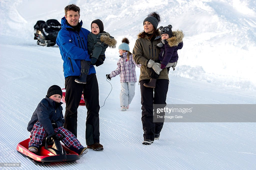 Prince Christian of Denmark, Crown Prince Frederik of Denmark, Prince Vincent of Denmark, Princess Isabella of Denmark, Princess Mary of Denmark and Princess Josephine of Denmark meet the press, whilst on skiing holiday on February 10, 2013 in Verbier, Switzerland.