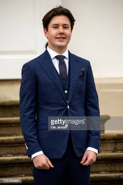 Prince Christian of Denmark seen after his confirmation on May 15, 2021 in Fredensborg, Denmark. The confirmation was postponed a year due to the...