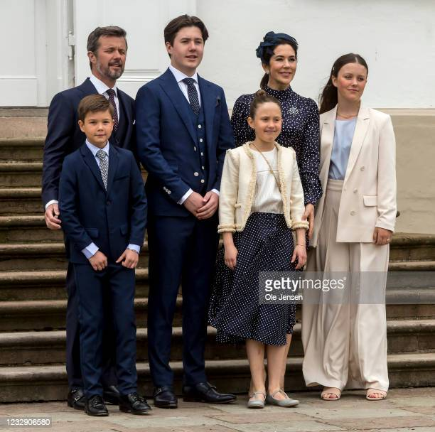Prince Christian of Denmark seen with his mother and father, Crown Prince Frederik and Crown Princess Mary and siblings at Fredensborg Palace on the...
