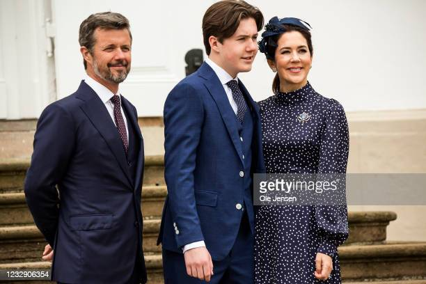 Prince Christian of Denmark together with his father, Crown Prince Frederik and his mother, Crown Princess Mary, after the confirmation at...