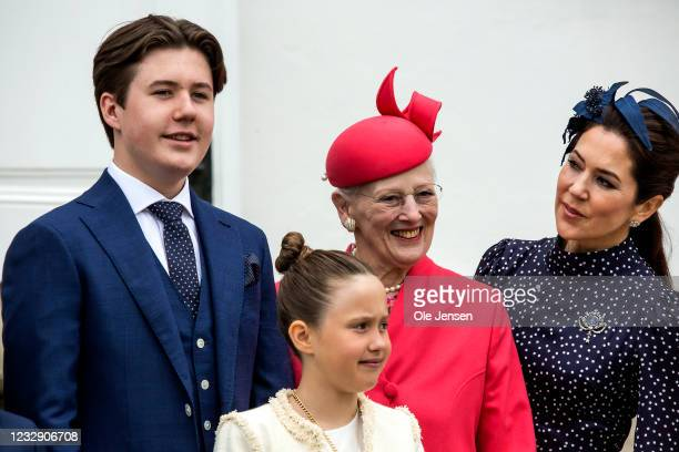 Prince Christian of Denmark together with his grandmother, Queen Margrethe of Denmark, and his mother, Crown Princess Mary, and Princess Josephine,...