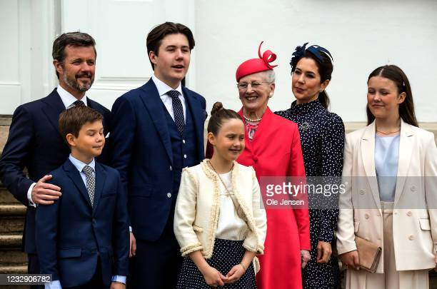 Prince Christian of Denmark with his family arrive at Fredensborg Palace where they are welcomed by Queen Margrethe on the occasion of his...