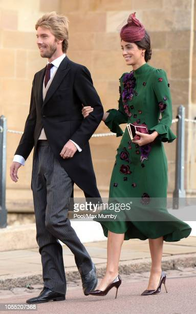 Prince Christian of Hanover and Alessandra de Osma attend the wedding of Princess Eugenie of York and Jack Brooksbank at St George's Chapel on...