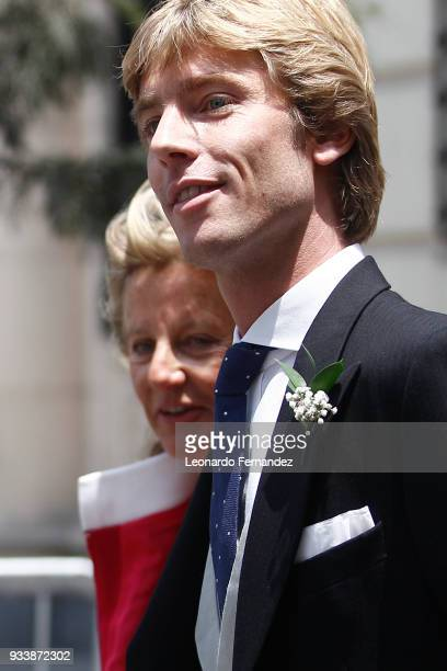 Prince Christian of Hanover and his mother Chantal Hochuli walk out of the church after the ceremony of the wedding of Prince Christian of Hanover...