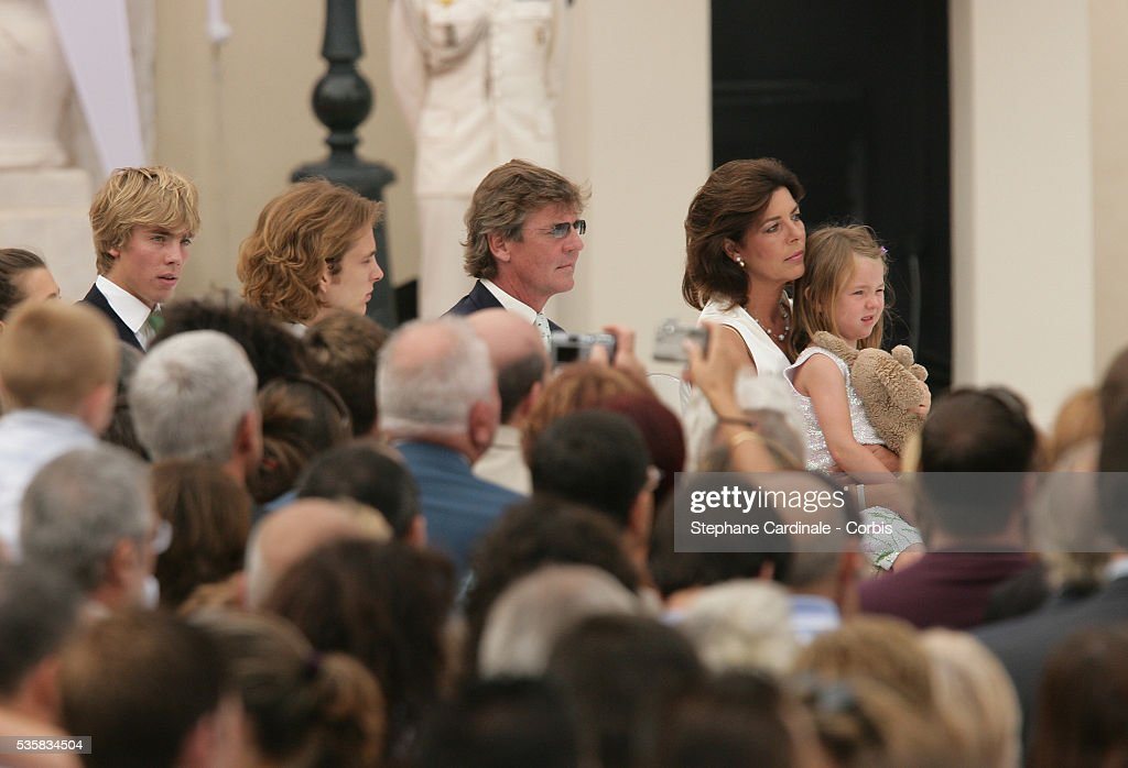 Prince Christian of Hanover, Andrea Casiraghi, Prince Ernst August of Hanover, Princess Caroline of Hanover with her daughter Princess Alexandra of Hanover attend Prince Albert II's key ceremony following his coronation mass held in the morning.