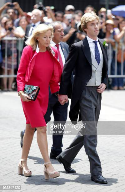 Prince Christian of Hanover arrives with his mother Chantal Hochuli arrive to his wedding with Alessandra de Osma at Basilica San Pedro on March 16...